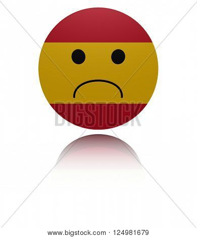 Spain sad icon with reflection 3D illustration