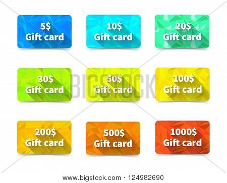 Set of nine gift cards of different value and colours on triangulated background with shadow, isolated on white