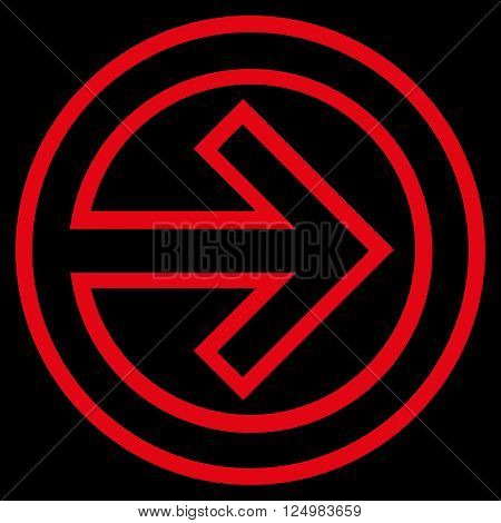 Import vector icon. Style is stroke icon symbol, red color, black background.