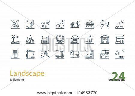Landscape, Architecture outline icons. Line art. Stock vector.