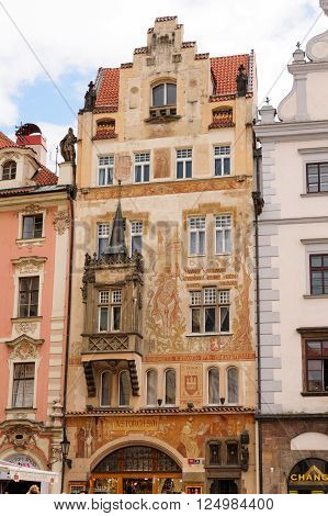 PRAGUE CZECH REPUBLIC - JULY 8 2009: Storch's publishing house with figural paintings in Art Nouveau style on the facade dominated by St. Wenceslas on a horse