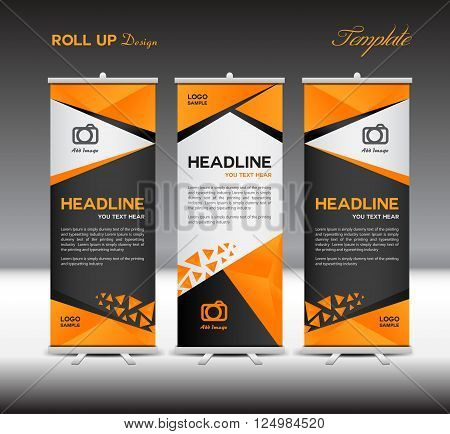 Orange and black Roll Up Banner vector template polygon background for business