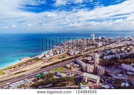 Panoramic Aerial View of Haifa city Israel