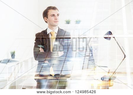 Businessman with hands crossed office at background. Double exposure. Concept of work.