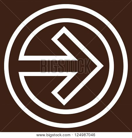 Import vector icon. Style is outline icon symbol, white color, brown background.