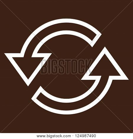 Sync Arrows vector icon. Style is outline icon symbol, white color, brown background.