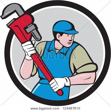 Illustration of a plumber wearing hat running holding giant monkey wrench looking to the side viewed from front set inside circle on isolated background done in cartoon style.