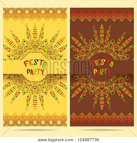 Beautiful greeting card, invitation for fiesta festival. Design concept for Mexican Cinco de Mayo holiday with ornate mandala and border frame ornament. Hand drawn vector illustration