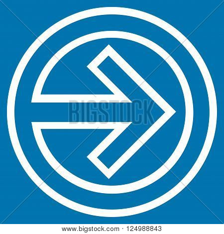 Import vector icon. Style is thin line icon symbol, white color, blue background.
