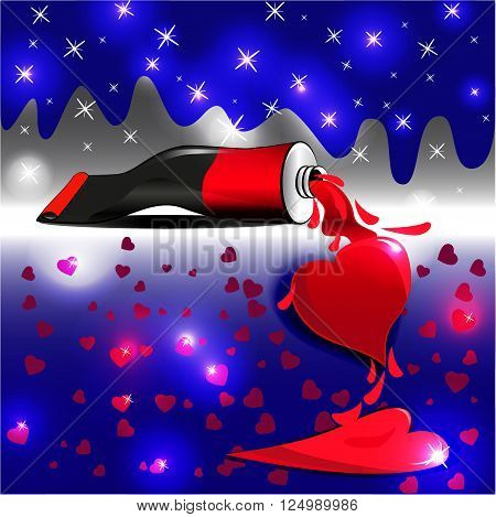 bright colors painted heart in starry radiance