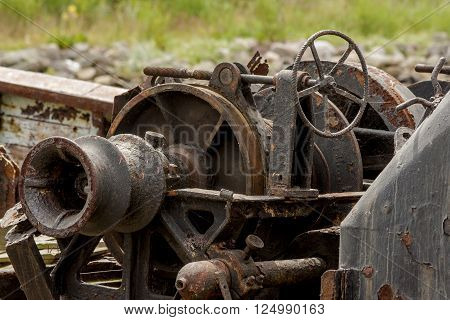 Old rusty machinery on a fishing boat elapsed time
