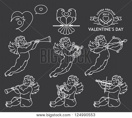 Cherub Bundle illustration set white on black