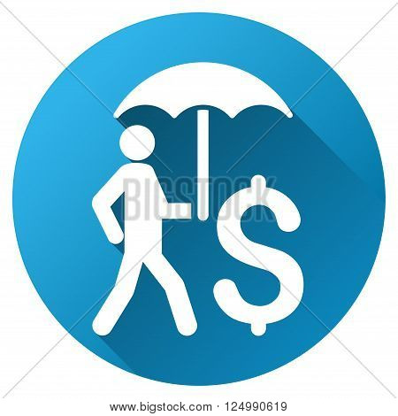 Walling Businessman under Umbrella vector toolbar icon for software design. Style is a white symbol on a round blue circle with gradient shadow.