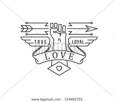 True Love badge illustration black on white