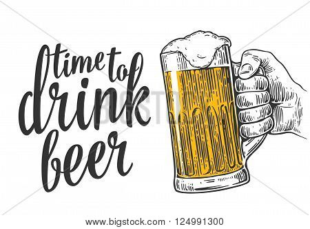 Male hand holding a beer mug. Vintage vector engraving illustration for web poster invitation to beer party time to drink. Isolated on white background