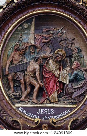 PLETERJE, SLOVENIA - NOVEMBER 06: 6th Stations of the Cross, Veronica wipes the face of Jesus, Carthusian monastery in Pleterje, Slovenia on November 06, 2015