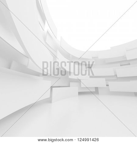 Modern Architecture Background. Circular Building Construction. 3d Rendering