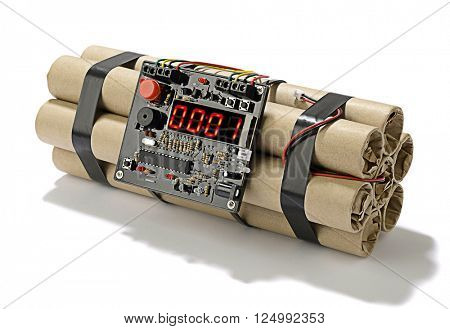 TNT bomb explosive with digital countdown timer clock isolated on white background.