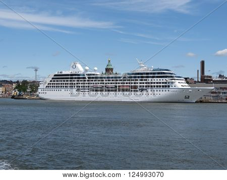 HELSINKI FINLAND - CIRCA JUNE 2012: MS Nautica cruiseferry ship of the Oceania Cruises moored at the harbour