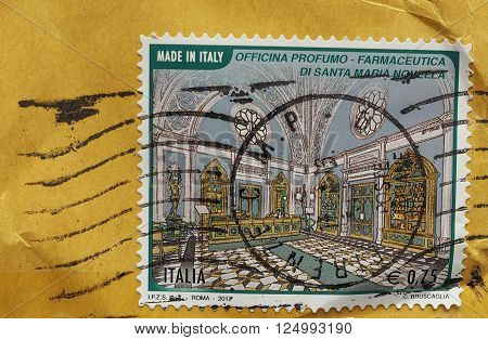 FLORENCE ITALY - CIRCA MARCH 2016: mail stamp commemorating the ancient Officina profumo-farmaceutica (perfume-pharmaceutical workshop) in the church of Santa Maria Novella (Florence)