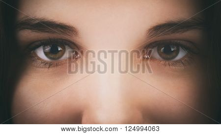 face of a young girl with hazel brown green eyes, dark vintage toned photo