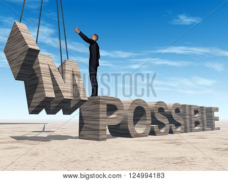 Concept conceptual 3D illustration of business man standing over abstract stone impossible text on sky background