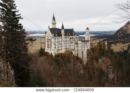 Schwangau Germany - January 06 2016: View of the Neuschwanstein Castle in Alps mountain at winter time