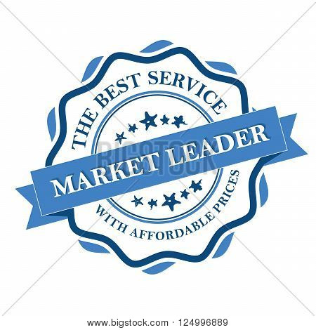 Business label - Market Leader. The best service with affordable prices. Print colors used