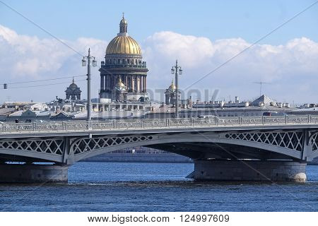 Landscape with the image of Neva River and St. Isaac Cathedral in St. Petersburg, Russia
