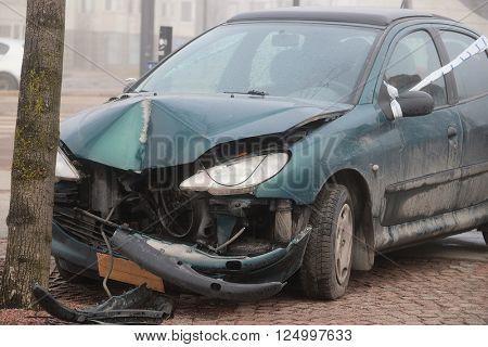 Crashed car in Helsinki, Finland