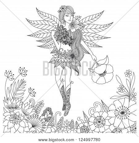 Hand drawn fairy flying in flower land for coloring book for adult