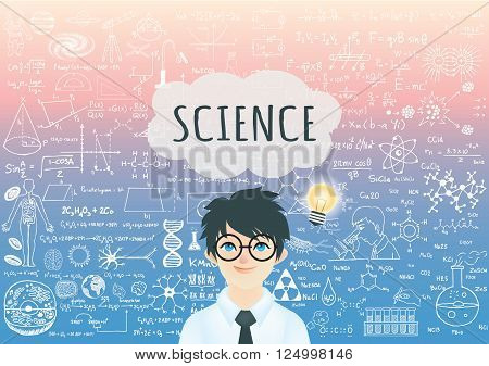 Genius boy with bright light bulb , word Science in speech bubble and science formula background