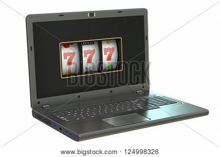 online gambling 3d concept - slot machine inside laptop 3D rendering