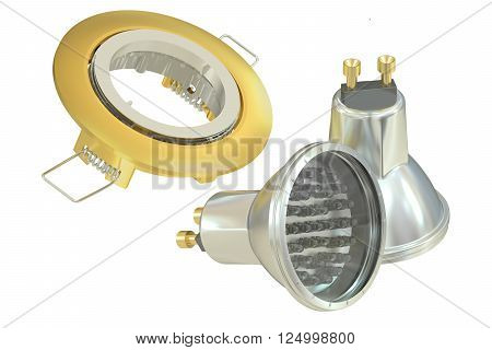 recessed light with LED (Light Emitting Diode) lamps 3D rendering