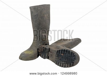 Isolated Pair Of Wellington Boots Showing Pattern On Sole