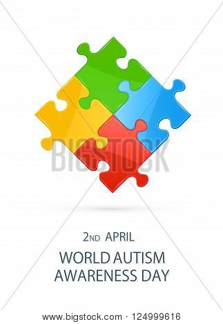 Colorful puzzle elements on white background in autism awareness day, illustration.