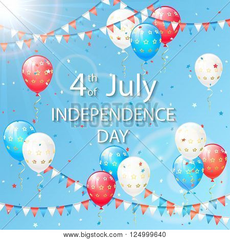 Blue sky with holiday balloons and colorful pennants on Independence day background, illustration.