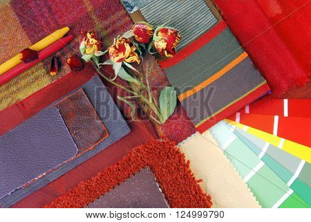color harmonisation for interior in red color