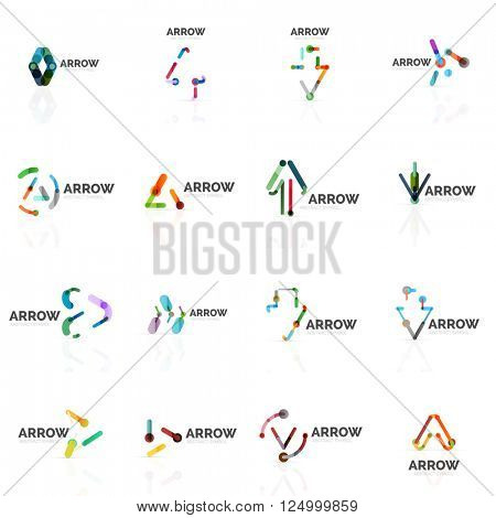 Set of linear arrow abstract logos, connected multicolored segments of lines in directional pointer figures. Vector wire business icon collection isolated on white