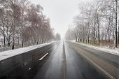 picture of icy road  - winter road - JPG