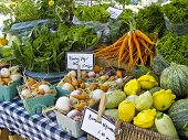 image of farmers market vegetables  - Display of local produce at outdoor farmers market - JPG