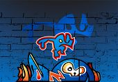 Постер, плакат: Художественные граффити на стены кирпичи Фоновая текстура это мои фото