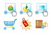 Colorful icon set with e-commerce, e-shopping, e-market objects
