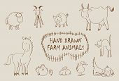 foto of farm animals  - Hand drawn farm animals set including sheep - JPG