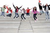 foto of happy kids  - Happy University Or High School Children Happy At End Of Term - JPG