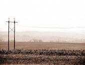 Power Lines over Farmland Countryside