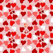 Floral valentines hearts romantic design background