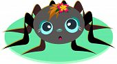 stock photo of baby spider  - This cute Spider Baby has a colorful flower on her head - JPG