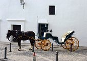 foto of blinders  - horse and carriage in ronda spain on cobble stone street against white wall - JPG