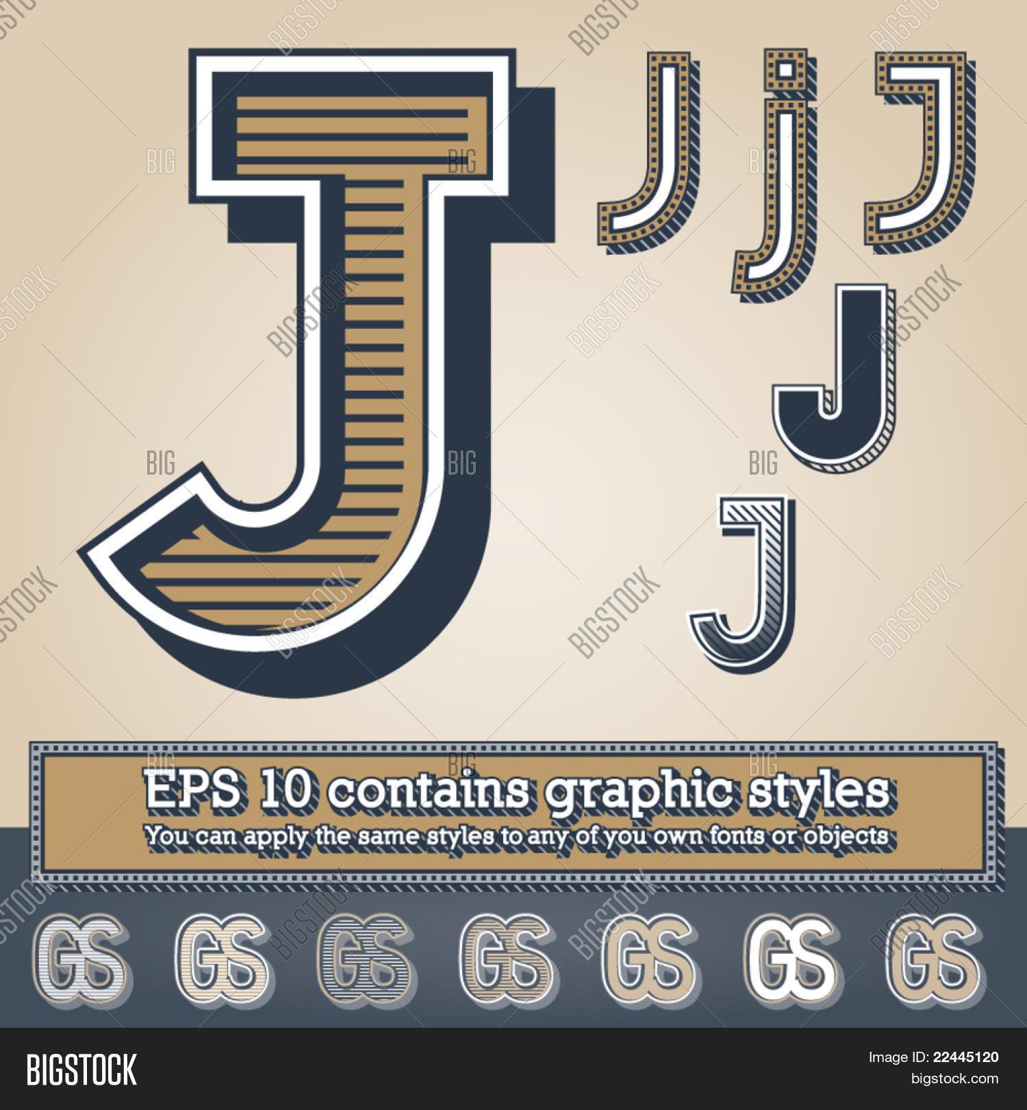 Old Fashioned Alphabet Letter J Vector &